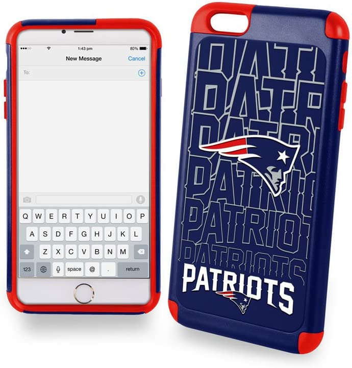 Forever Collectibles Dual Hybrid 2-Piece TPU Case for iPhone 6 Plus - Retail Packaging - New England Patriots