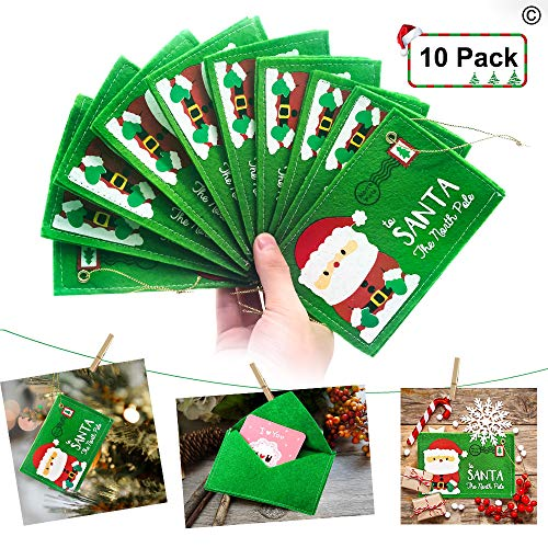 (Christmas Santa Wishing Letter Mailing Envelopes Greeting Card Xmas Tree Hanging Ornament Gift Candy Bag Felt Embroidery Christmas Home Decor 10 Pack(Green))