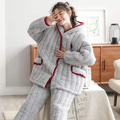 Bayrick Pijama Invierno Mujer Polar,Conjunto de Pijama para ...