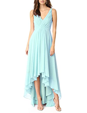 YSMei Womens V Neck Short Front Long Back Evening Prom Dresses Chiffon Bridesmaid Gowns Aqua Blue