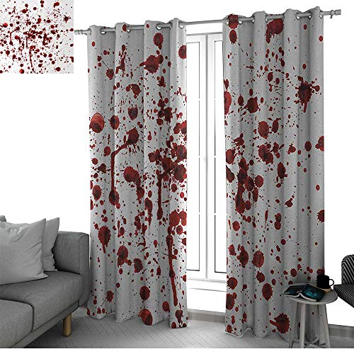 (bybyhome Horror Living, Dining Room, Bedroom Curtains Splashes of Blood Grunge Style Bloodstain Horror Scary Zombie Halloween Themed Print Curtain Living Room Red White W96 x L84)
