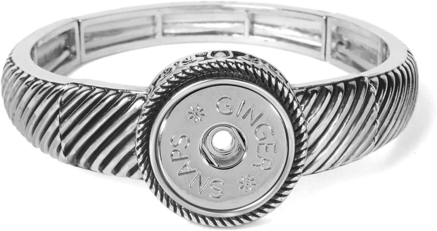 Interchangeable Snap Jewelry Collection Button Charms for Necklaces Standard Size Bracelets /& Rings SN95-76 Ginger Snaps Rippling Stretch Bracelet