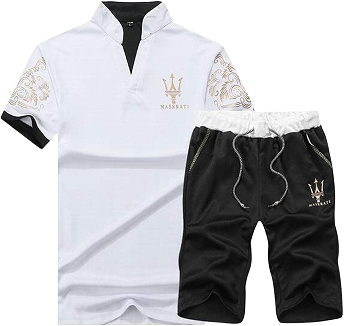 YYG Mens Running Trainning Short Sleeve Shirts /& Beach Shorts Gym Workout Casual 2 Pieces Suits Outfits