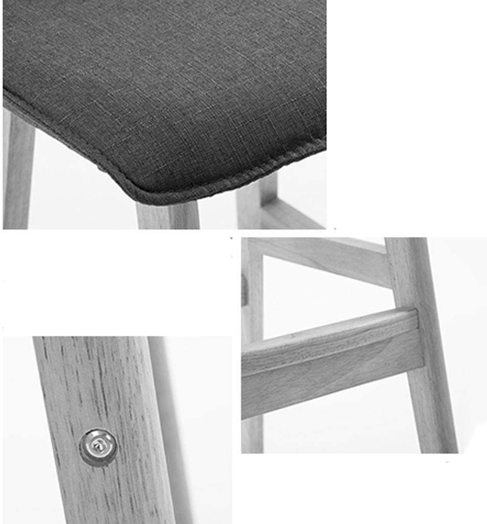 HXF- Solid Wood Bar Stool Simple Front Desk Chair Modern Bar Chair High Oak Stool Fashion durable (Color : E) E