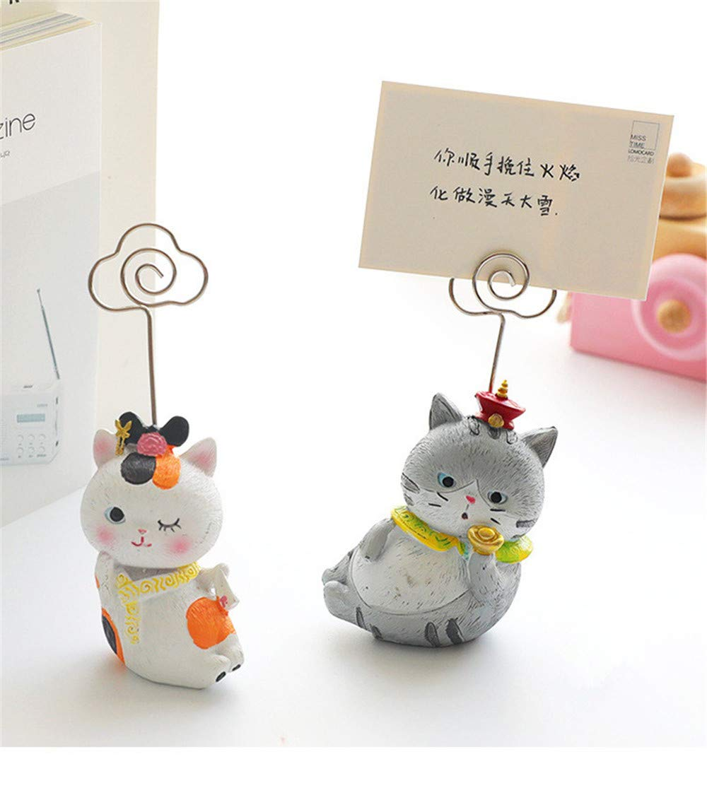 Memo Clip 2 Pcs Cute Creative Resin Cat Memo Note Clips Home Decoration Stationery Office Accessories School Supplies