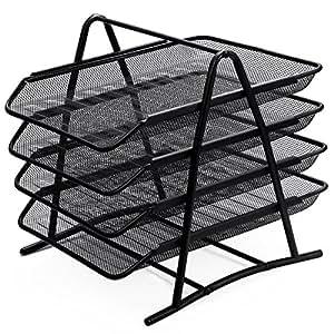 Zuvo - Organizador de escritorio de malla metálica con 4