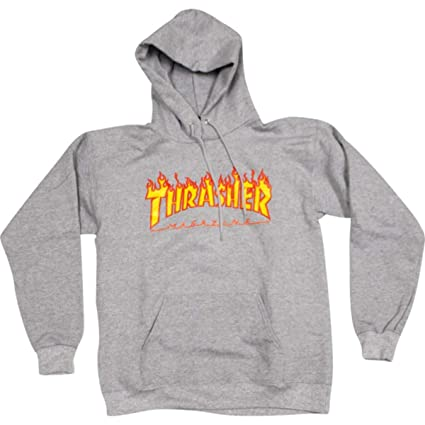 c4eb56a57184 Image Unavailable. Image not available for. Color  Thrasher Magazine Flames  Heather Grey Men s Hooded Sweatshirt ...