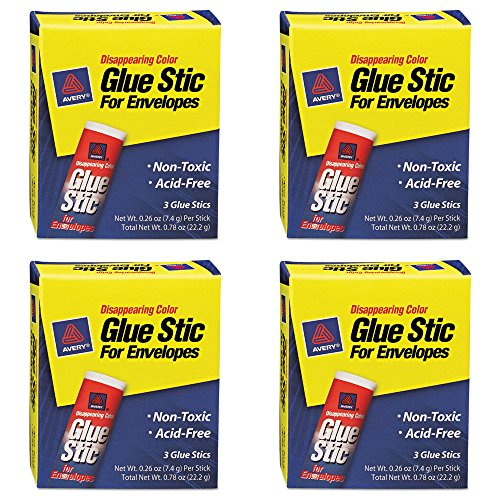 Avery Disappearing Color Glue Stic for Envelopes, 0.26 Ounce, Purple, Pack of 3 (00134), 4 Packs - Disappearing Color Glue Stick