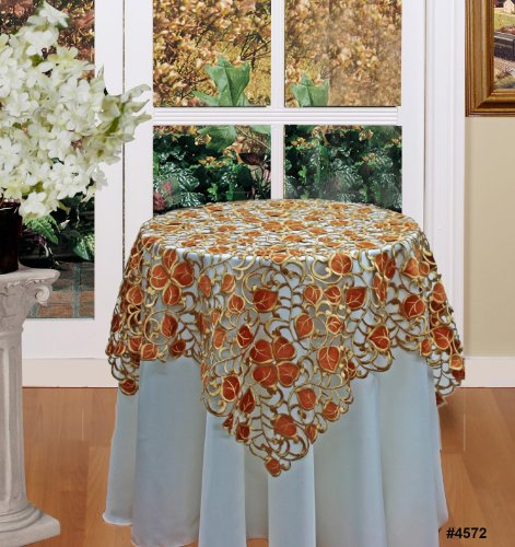 Fall Autumn Thanksgiving Harvest Embroidered Cutwork Leaf Tablecloth 34