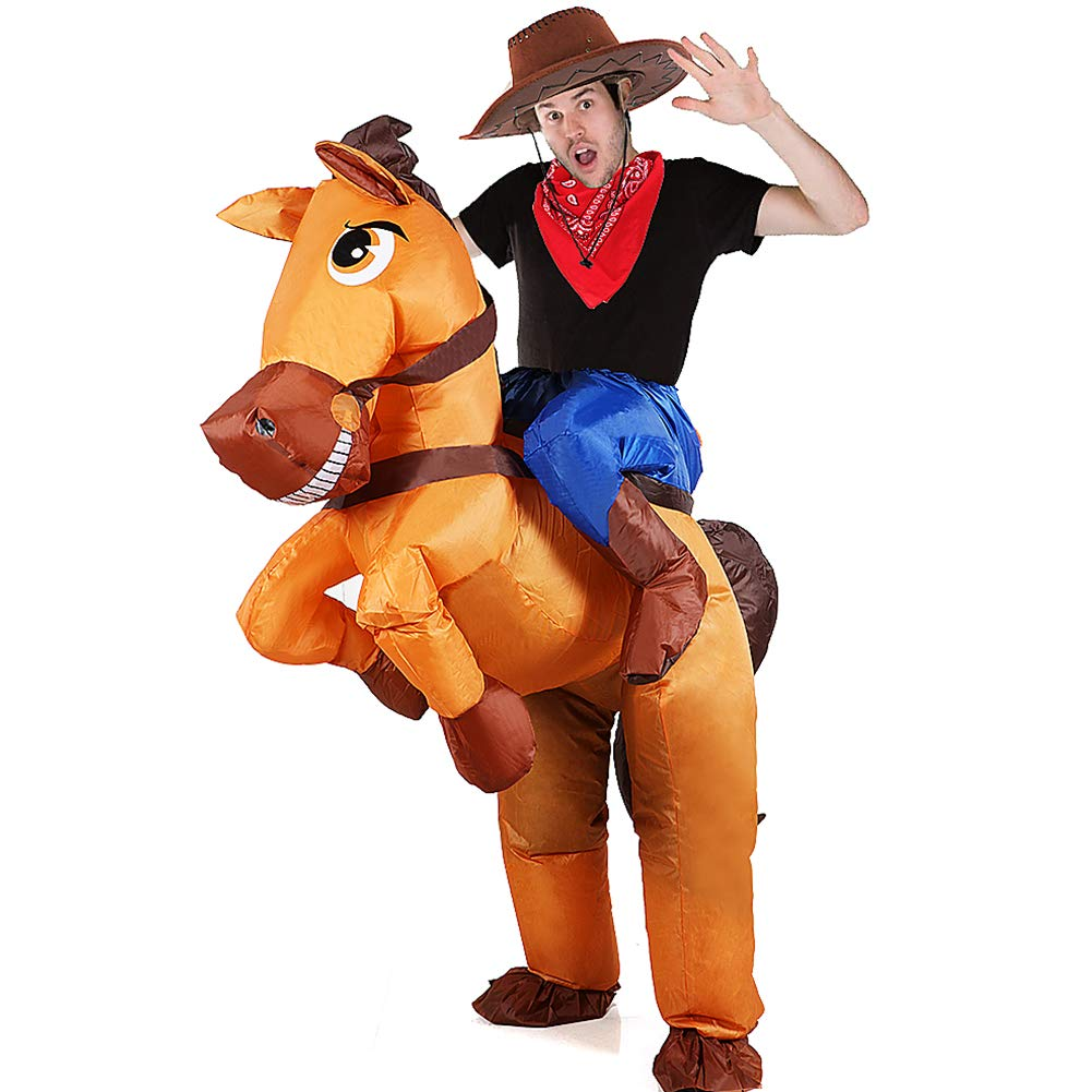 Disfraz Inflable De Jinete Vaquero A Caballo Traje Cosplay Fiesta para Adulto Disfraz Hinchable Halloween Caballo Hinchable Disfraz Vaquero Hinchable ...