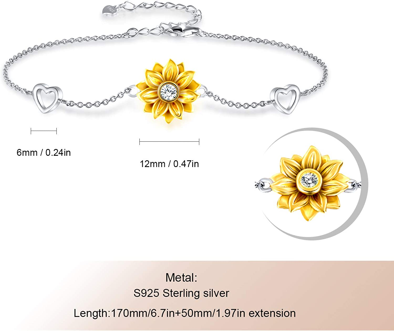 925 Sterling Silver Bracelet for Women Adjustable Sunflower Heart Christmas Charm Bracelet for Women Girlfriend Love Jewelry Gifts for Valentines Day Birthday