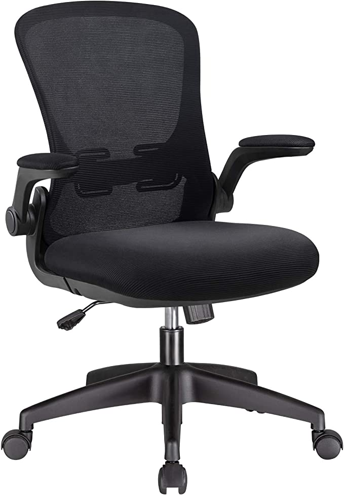 Amazon.com: Office Chair Mesh Desk Chair with Lumbar Support High Back Swivel Computer Chair Ergonomic Executive Chair with Flip-up Armrest, Black: Furniture & Decor