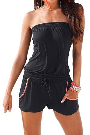 208036c113 Fixmatti Women s Casual Tube Drawstring Short 1 Piece Jumpsuit Rompers  Outfits Black S