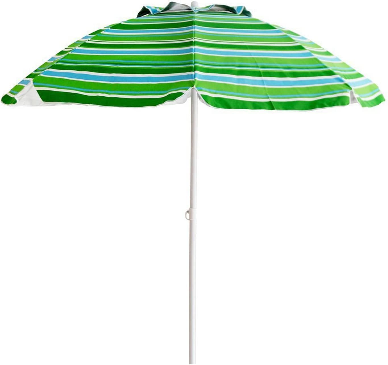 Suny Deals 7 Ft Beach Umbrella Sand Anchor Outdoor Patio Umbrella with Tilt 8 Ribs, Sturdy Pole and Carry Bag, Air Vent Blue Green