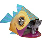 Kitty City Bubble Window Cat Cubby, Large Scratcher with Catnip