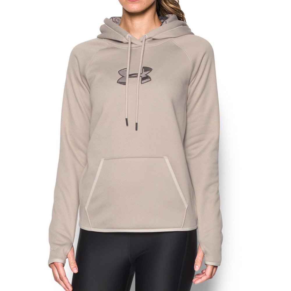 Under Armour Women's Icon Caliber Hoodie, Oatmeal Heather/Maverick Brown, X-Small