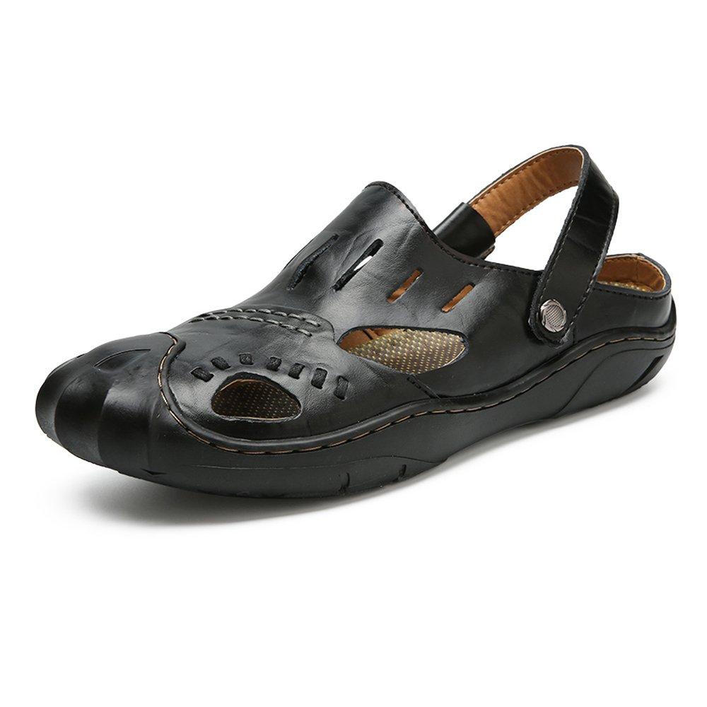 Sandalias de los Hombres de Cuero Genuino Zapatillas de Playa Casual Transpirable Antideslizante Suave Plana Cerrado Dedo del pie Ajustable sin Respaldo 39 EU|Black
