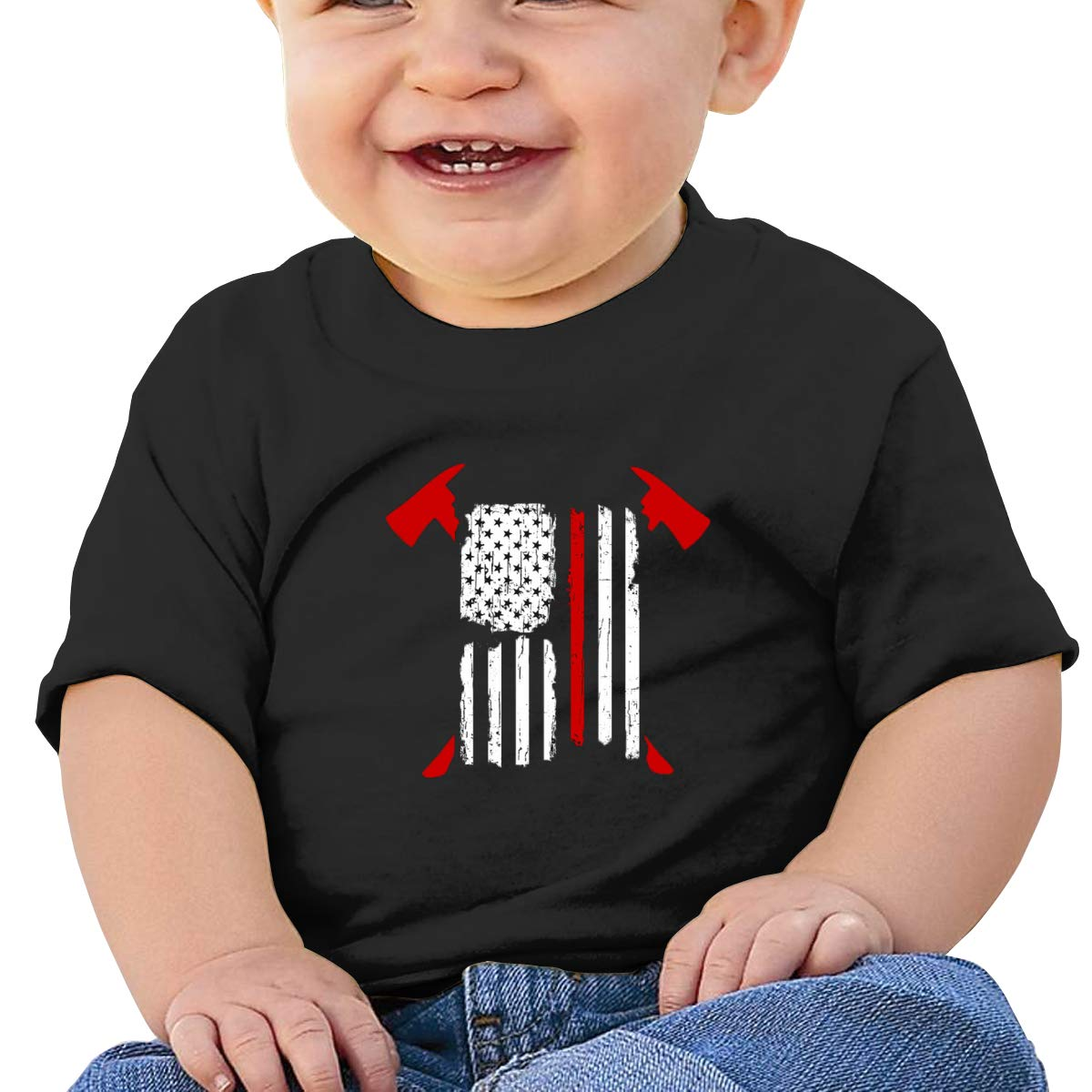 Firefighter Red Line American Flag Baby T-Shirt Toddler//Infant Cotton T Shirts Crew Neck Basic Shirt for 6M-2T Baby