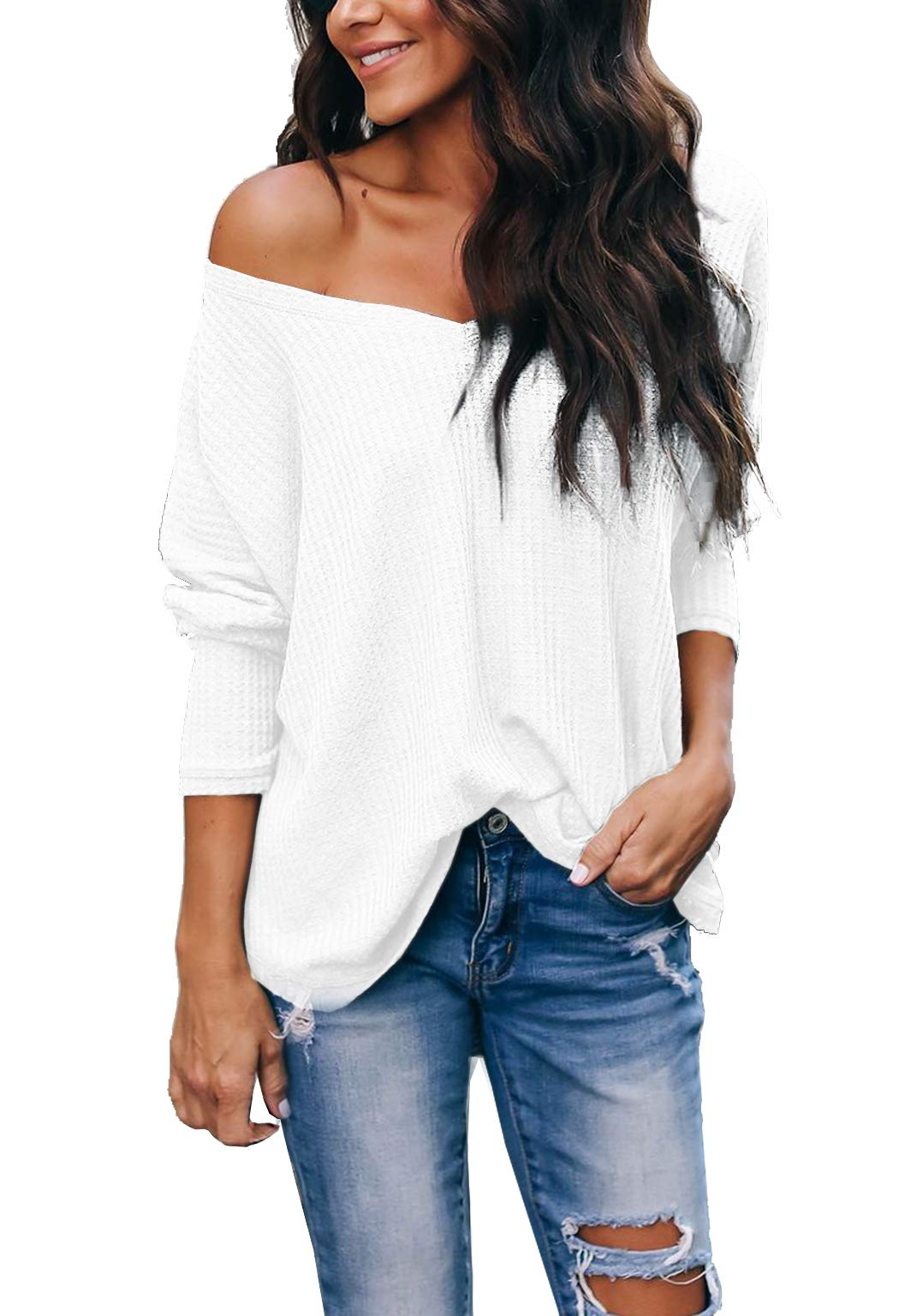 iGENJUN Women's Casual V-Neck Off-Shoulder Batwing Sleeve Pullover Sweater Tops,