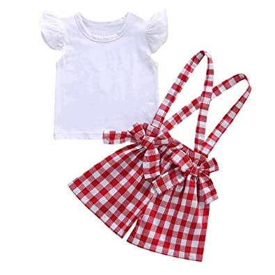 432f7de3850c41 Baby Clothes Set, Girls White Ruffles Shirts + Bowknot Plaid Shorts Pants Toddler  Summer Short