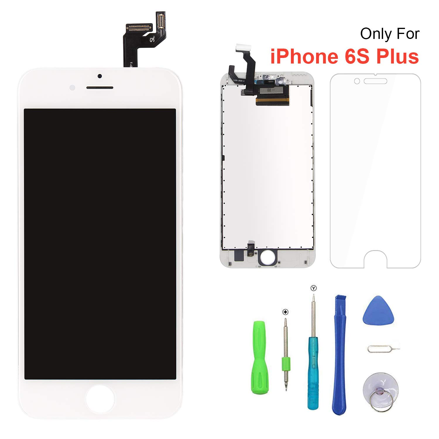 huge discount 084f3 dff2e Screen Replacement for iPhone 6s Plus White 3D Touch Screen LCD Digitizer  Replacement Frame Display Assembly Set with Repair Tool Kits(6s Plus, White)