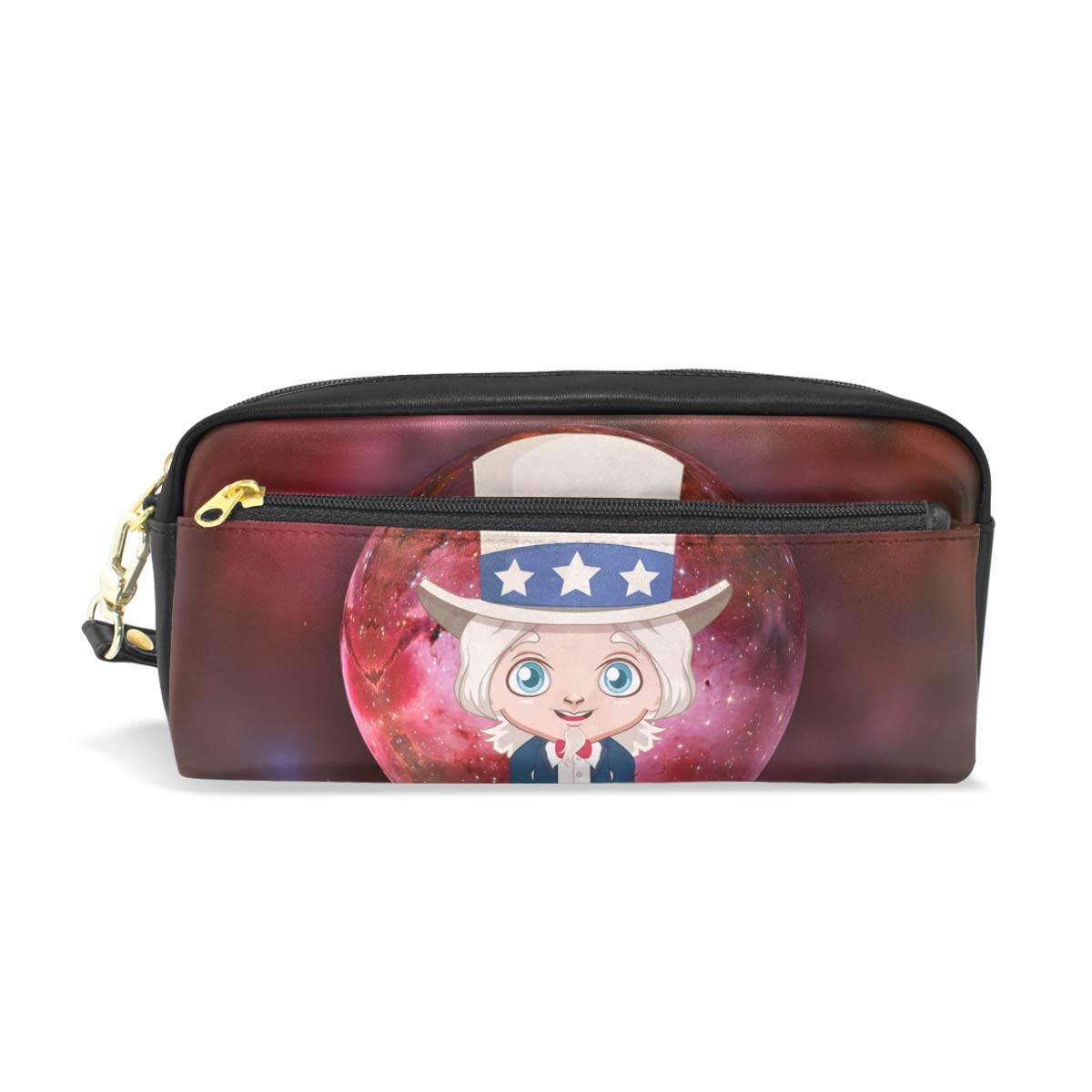 America Kids Leather Student Pencil Case Cosmetic Bag Pen Makeup Pouch for Girl Boy