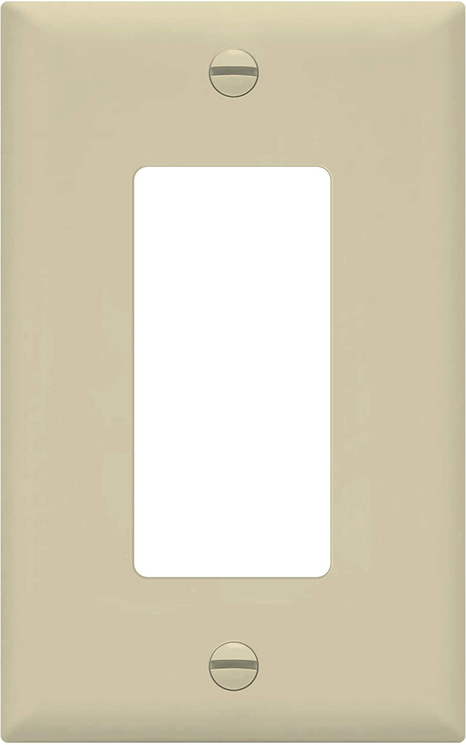 """ENERLITES Decorator Light Switch or Receptacle Outlet Wall Plate, Midway Size 1-Gang 4.88"""" x 3.11"""", Polycarbonate Thermoplastic, UL Listed, 8831M-I, Ivory"""
