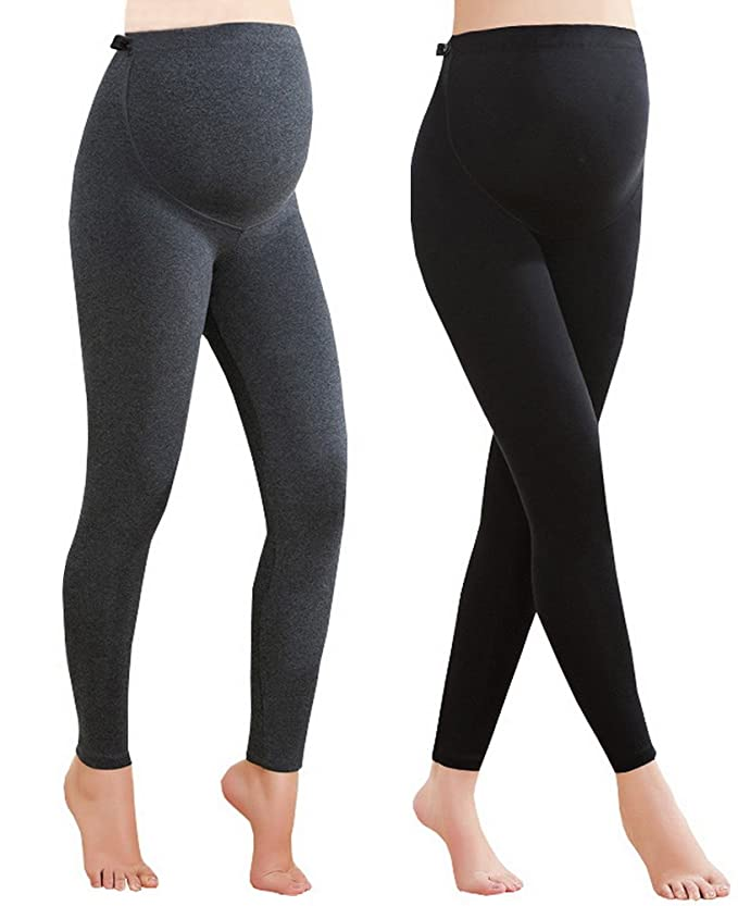 Foucome 2 Pack Maternity Leggings Full Ankle Length Cotton Super Soft Support Leggings Grey + Black, UK M - Tag XL