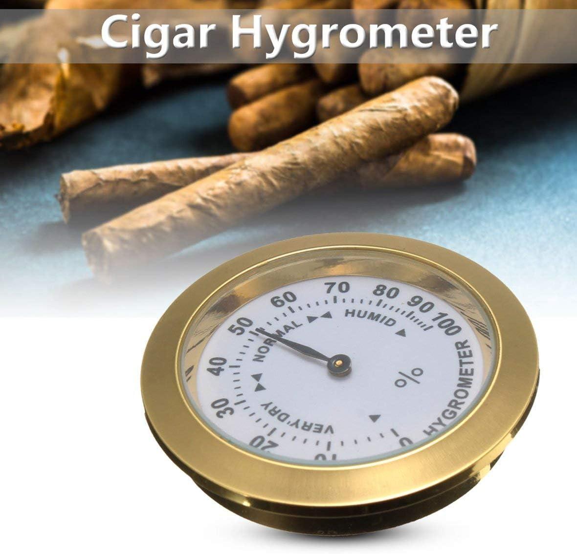 Pennytupu Hygrom/ètre analogique en laiton cigare tabac humidit/é jauge et lentille en verre pour humidificateurs fumer sensible /à lhumidit/é jauge
