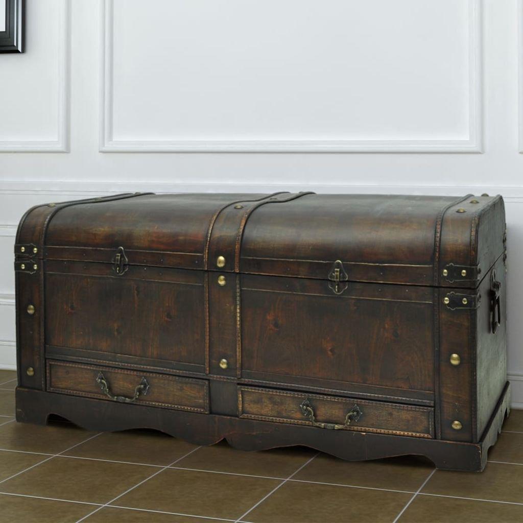 Große Truhe Treasure Box Aus Holz Im Antiken Stil Couchtisch