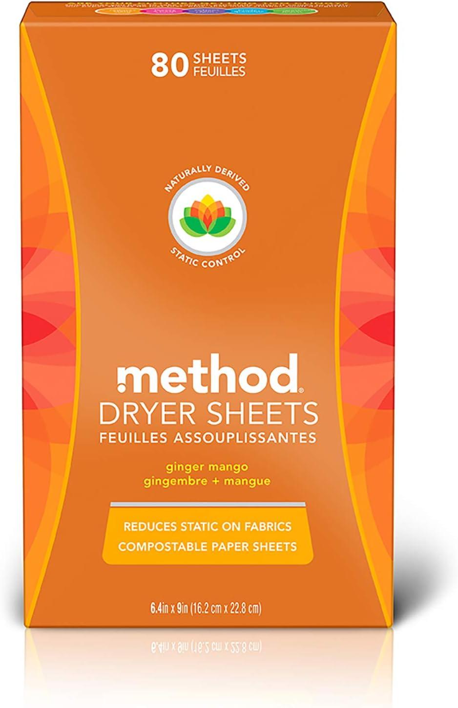 Method Dryer Sheets - Ginger Mango - 80 ct