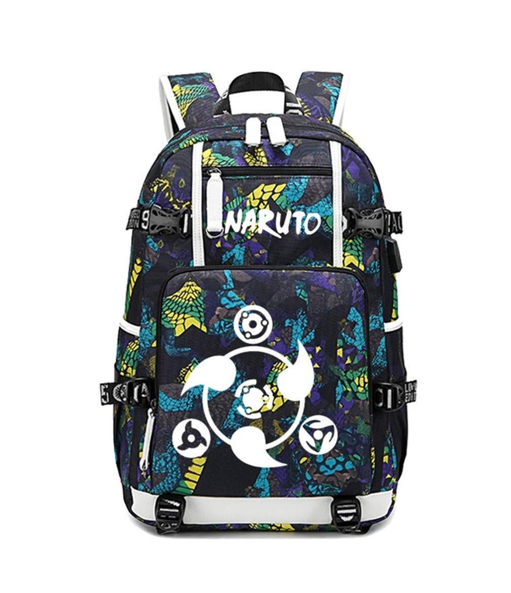 Color 5B Anime Naruto Cosplay Backpack Daypack Bookbag Laptop Bag School Bag with USB Charging Port