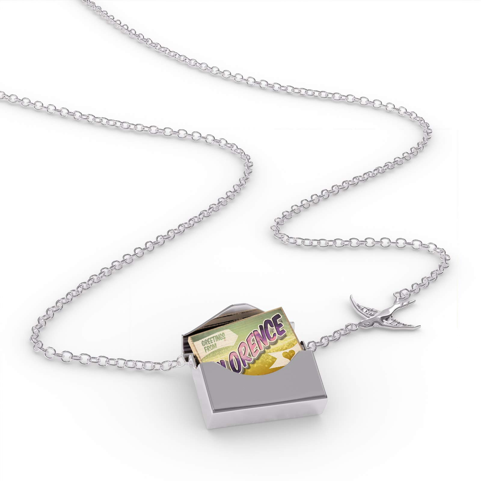 NEONBLOND Locket Necklace Greetings from Florence, Vintage Postcard in a Silver Envelope