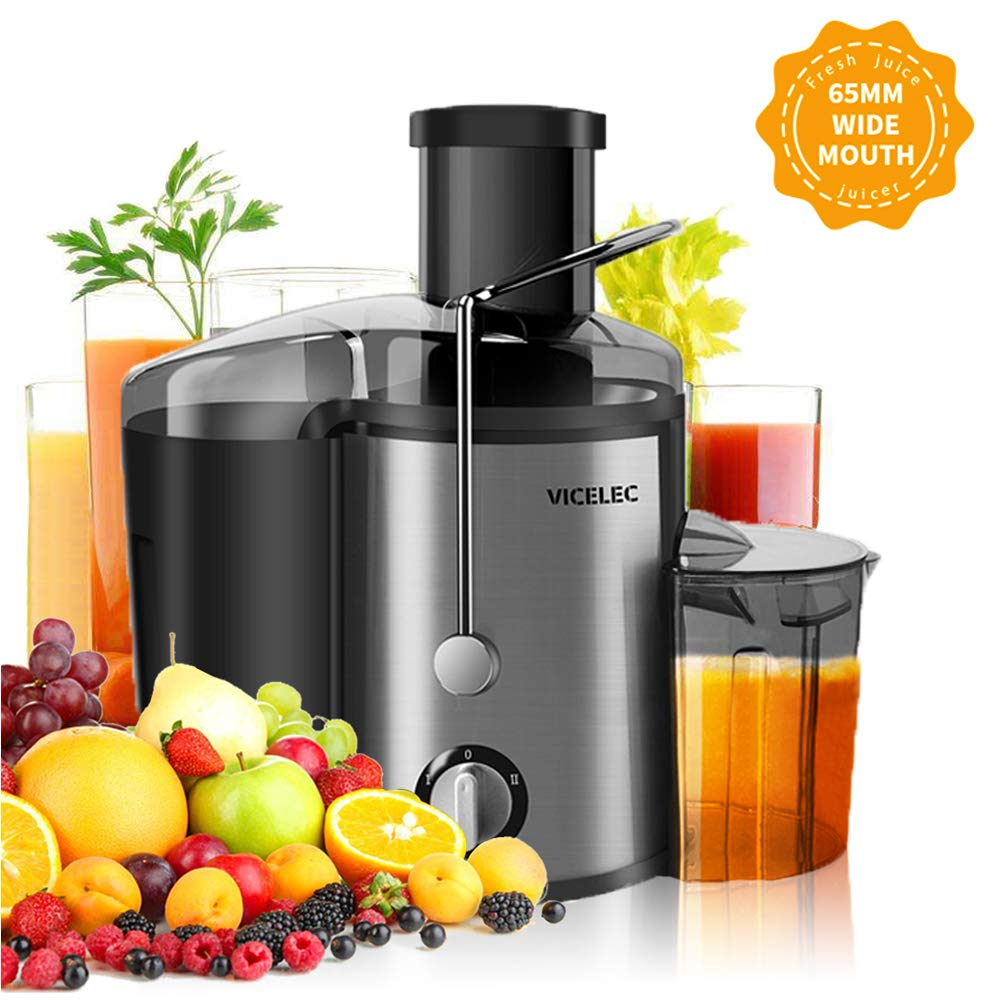 Juicer Extractor, VICELEC BPA-Free Juicer Machine with Juice Jug and Pulp Container,Dual Speed Vegetable Centrifugal Juicer for Fruit & Vegetable