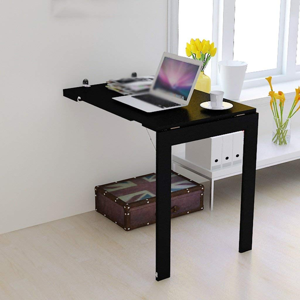North cool Folding Wall-Mounted Floor-Standing Table Desk, Kitchen Dining Table Desk Laptop Desk Office Writing Desk,90x60x74cm (Color : Black)