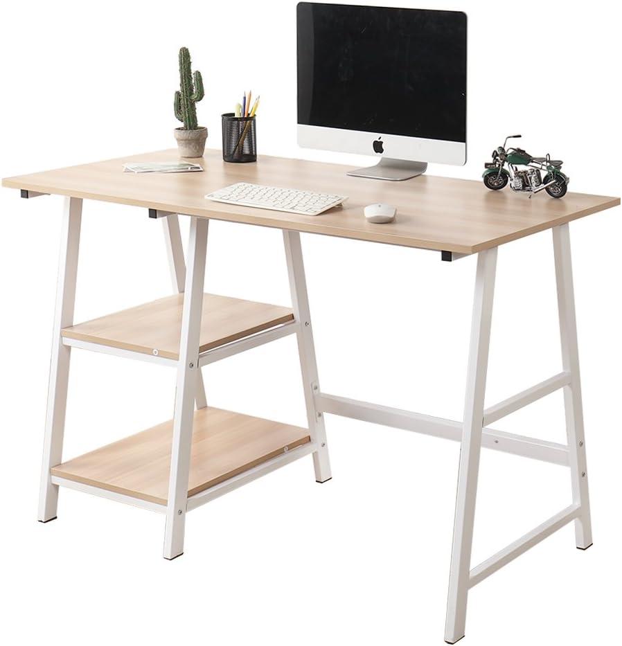 Soges 47 Inch Computer Desk Trestle Desk Writing Desk Home Office Desk Hutch Workstation with Shelf Storage Desk, White Oak CS-Tplus-120MO