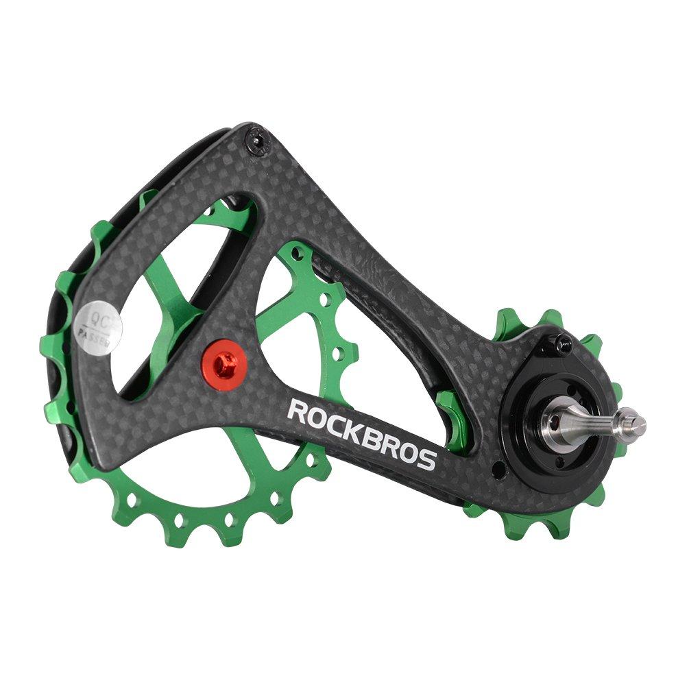ROCKBROS(ロックブロス)17T ディレイラー プーリー ビッグプーリー カーボン 自転車プーリー 20インチ以上 RIVAL/FORCE/RED対応 B0772H4SSL グリーン グリーン