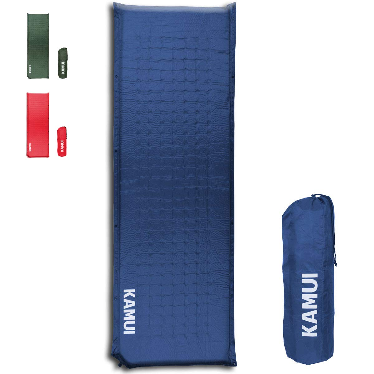 KAMUI Self Inflating Sleeping Pad - 2 Inch Thick Camping Pad Connectable with Multiple Mats for Tent and Family Camping (Blue) by KAMUI