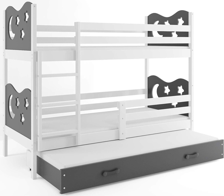 grau Farbe zur Wahl; mit Matratzen und Lattenroste Interbeds Etagenbett Miko 3 160x80cm Farbe: Wei/β 2 f/ür DREI Kinder