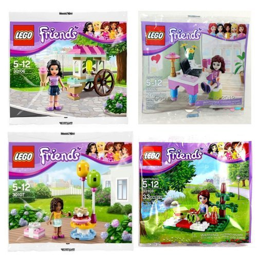 LEGO Friends: 30102 Olivia's Desk / 30106 Emma's Ice Cream Stand / 30107 Andrea's Birthday Party /30108 Mia's Summer Picnic (Japan Import) by LEGO