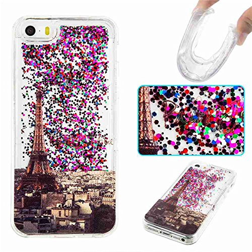 (iPhone SE Case,5S Case,Ngift [Paris] 3D Creative Bling Liquid Infused Luxury Bling Glitter Sparkle Inlaid Shiny Soft TPU Gel Rubber Case Cover Case Cover for iPhone SE & iPhone 5 5S)