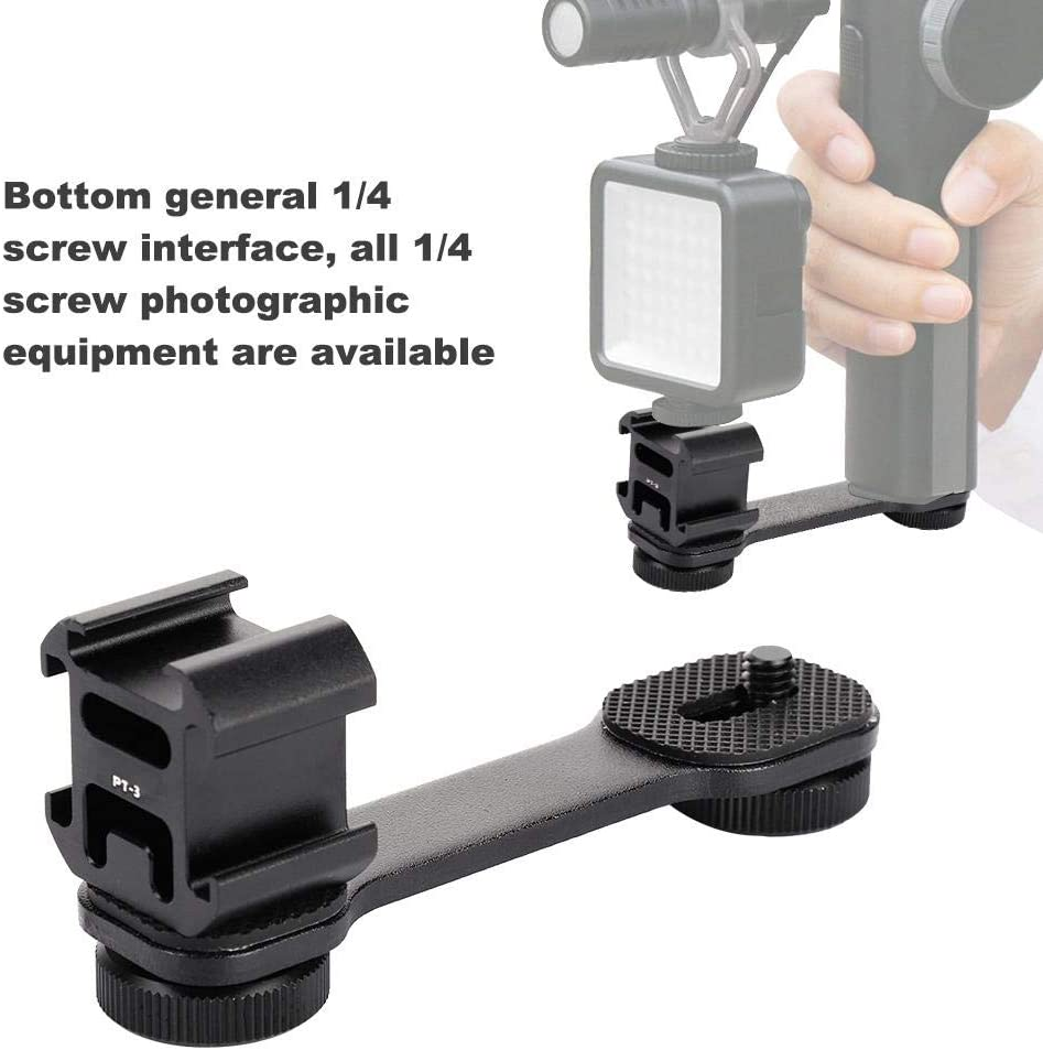 Light Bracket Camera Stabilizer Ulanzi PT-3 Triple Hot Shoe Stabilizer Mount Extension Bracket for Gimbal Microphone Camera
