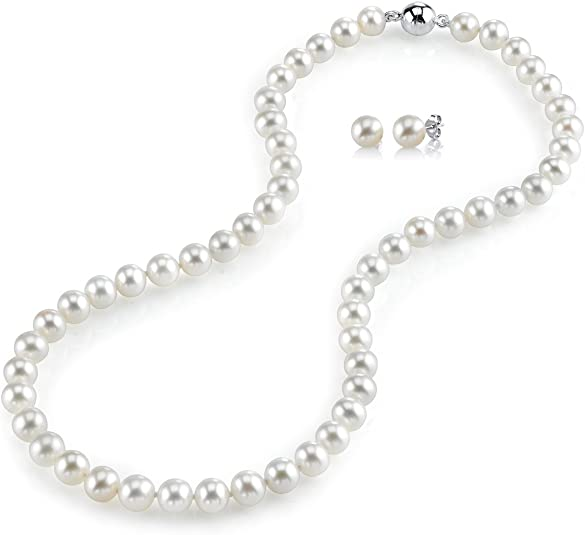 THE PEARL SOURCE Sterling Silver AAAA Quality Round White Freshwater Cultured Pearl Necklace /& Earrings Set with Magnetic Clasp in 18 Princess Length for Women