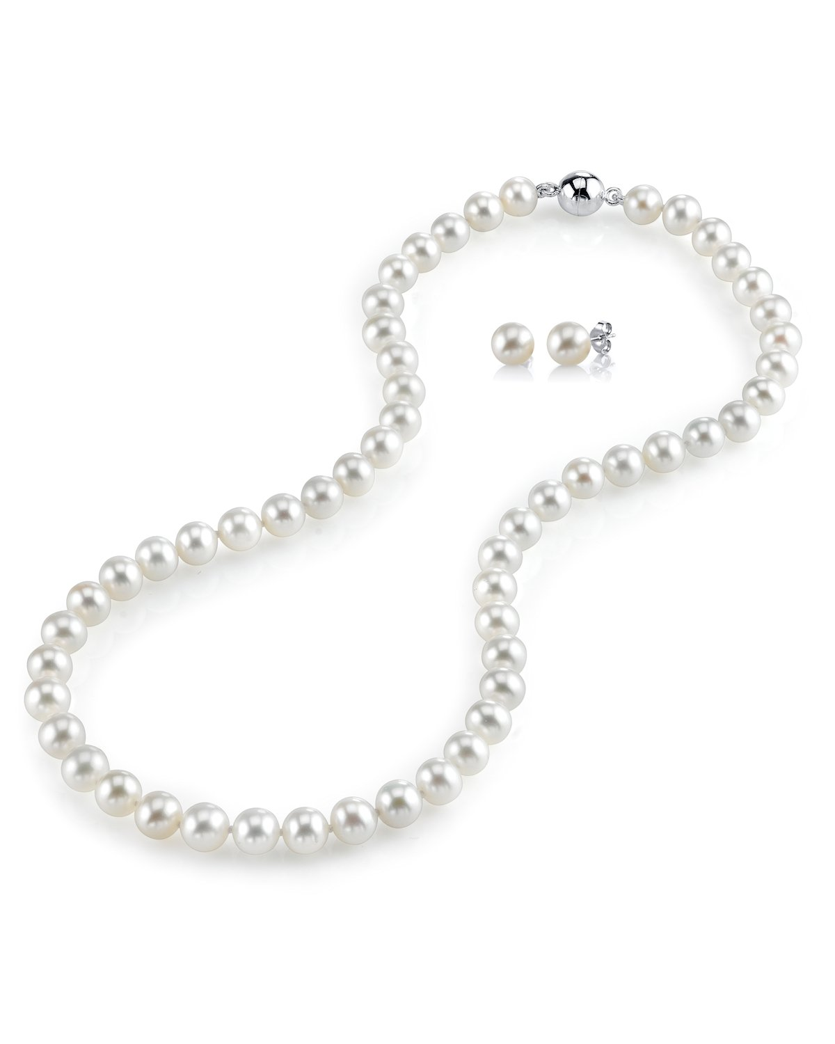 3d965a40c THE PEARL SOURCE AAA Quality 7-8mm Round White Freshwater Cultured Pearl  Necklace & Earrings