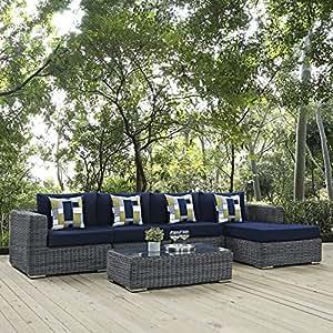 Summon 5piezas al aire libre Patio Sunbrella (R) seccionales Set, lienzo azul marino