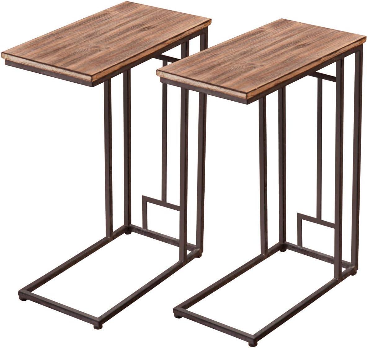 Tangkula Sofa Side Table, Solid Wood Living Room Bedroom Sofa Side Table End Table Couch Stand C Table