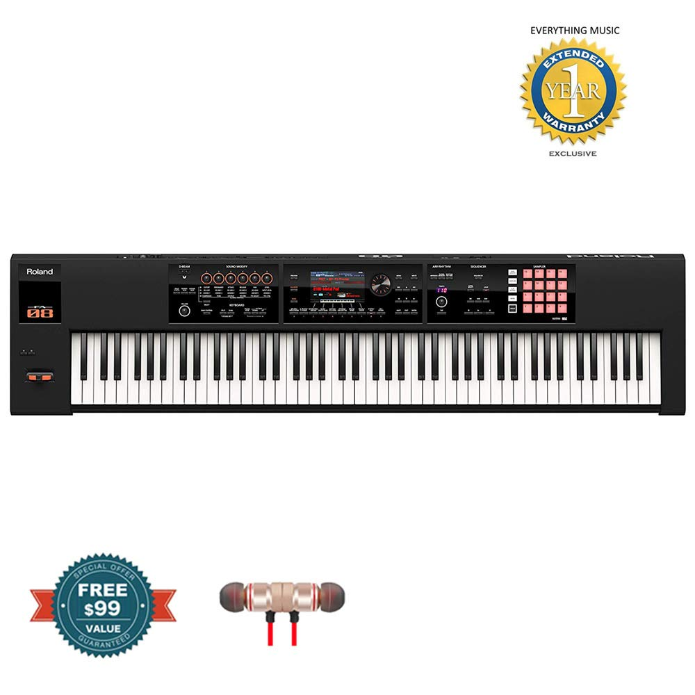Roland 88-key Weighted-action Music Workstation (FA-08)includes Free Wireless Earbuds - Stereo Bluetooth In-ear and 1 Year Everything Music Extended Warranty by COR