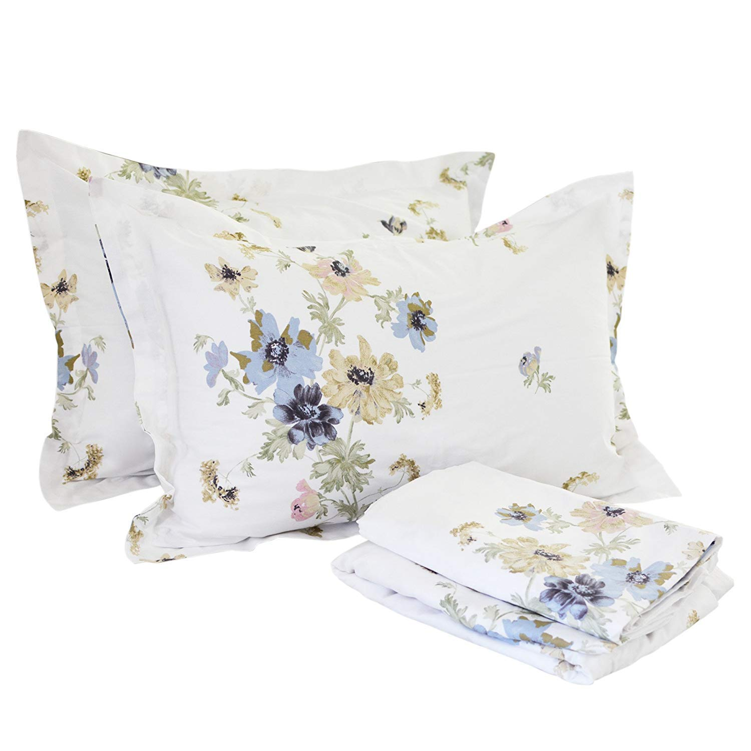 White Floral Twin XL FADFAY Cotton Bed Sheet Set bluee Hydrangea Floral Bed Sheets 4Piece King Size