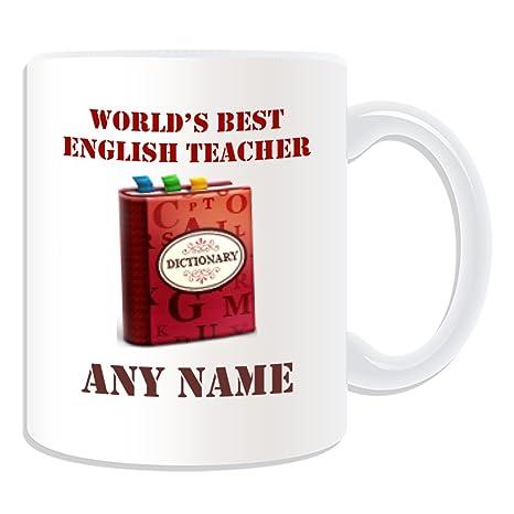 Regalo personaliseitonline - mejores profesor de Inglés/diccionario y gatos taza (diseño académico tema