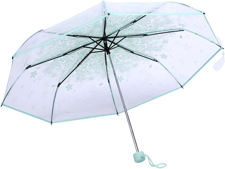Paraguas Plegables Resistente al Viento, Paraguas Transparente Mujer, Paraguas plegables claros transparentes de 36 pulgadas con la flor de cerezo para el viento y la lluvia pesada